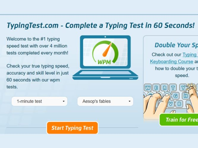one minute typing test