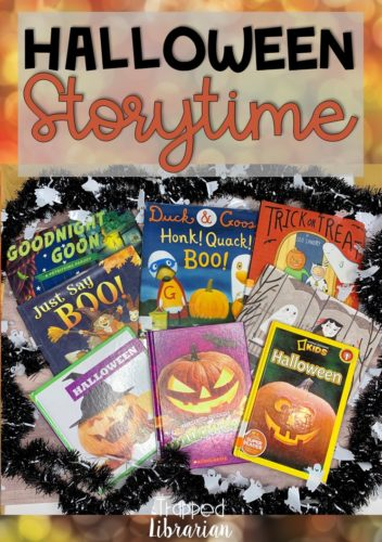 Plan a fun Halloween Storytime for your kindergarten, 1st grade, and 2nd grade classes. This blog post contains Halloween ideas for both fiction and nonfiction books, songs, and a fun Halloween scavenger hunt. You can create an engaging Halloween Storytime in your elementary library or classroom today! #thetrappedlibrarian #halloween