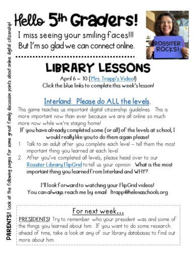 5th grade library lesson for distance learning