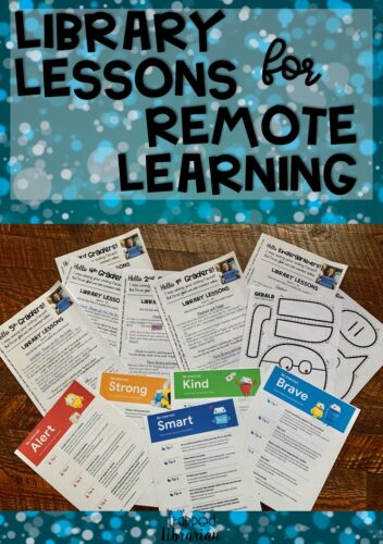 Library Lessons for Remote Learning. I'm sharing elementary library lesson plans that I use during this time of remote learning from home. If you need help with your distance learning library lessons, take a look at this blog post for some ideas! #thetrappedlibrarian #schoolclosure