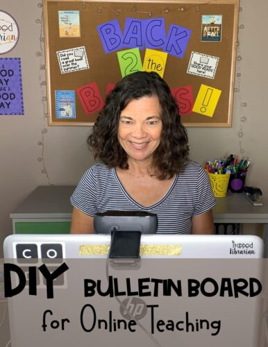 Are you looking for distance learning backdrop ideas? Learn a printing tip to help you DIY your own distance learning backdrop for online teaching. Use a bulletin board file you already own and have your new backdrop décor up in minutes! #thetrappedlibrarian #distancelearningdecor