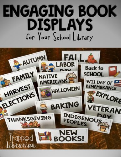 School library book displays can brighten up your library and entice your readers to take a look at some new books, or try some overlooked titles.  Get ideas for fun and easy elementary library book displays here! #thetrappedlibrarian #schoollibrary