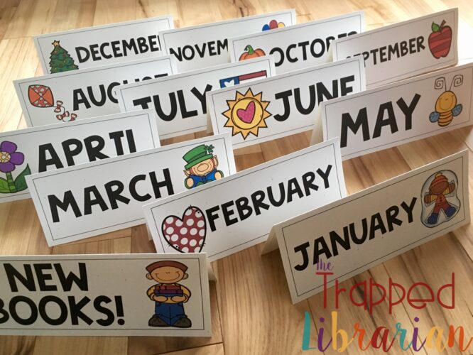 School Library Book Display Signs Months