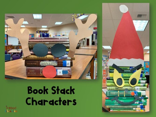 December Book Stack Characters