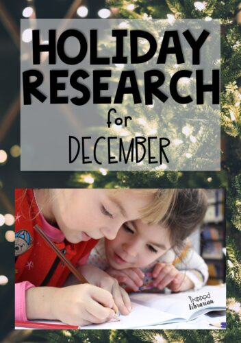 Teach and review research skills in a fun and engaging way in your elementary library or classroom in December. A mini-unit for holiday research is just what you need to stay flexible and sane during this crazy time. Teach your students about Christmas, Christmas trees, Hanukkah, and Kwanzaa with streamlined, no-fuss notetaking and a fun online word cloud project! Plan your low-prep, no stress holiday lesson today! #thetrappedlibrarian #decemberlibrary