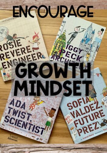 Are you looking for growth mindset activities for kids?  The Questioneers books by Andrea Beatty feature characters that kids can relate to.  Your elementary students will learn about perseverance and be inspired by Rosie Revere, Iggy Peck, Ada Twist, and Sofia Valdez.  Read all about these books and start brainstorming your growth mindset activities here.  #thetrappedlibrarian #growthmindsetforkids