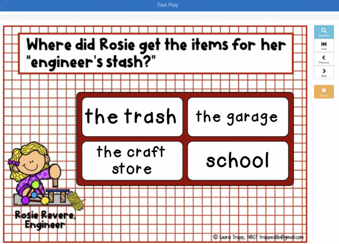 Rosie Revere Boom Cards in the School Library