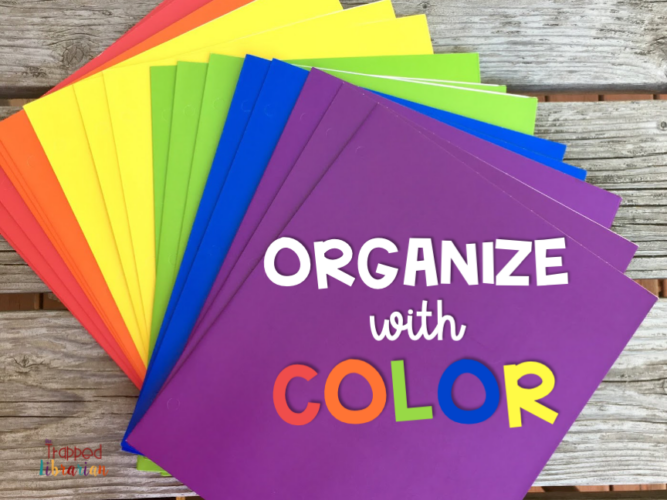 Organize with color code your teaching materials